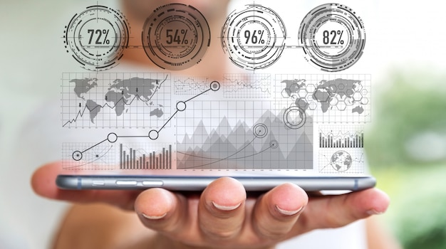 Homme d'affaires utilisant une interface graphique numérique