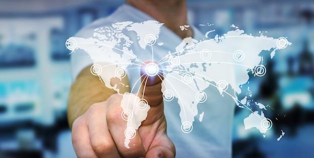 Homme d'affaires utilisant une interface tactile mondiale