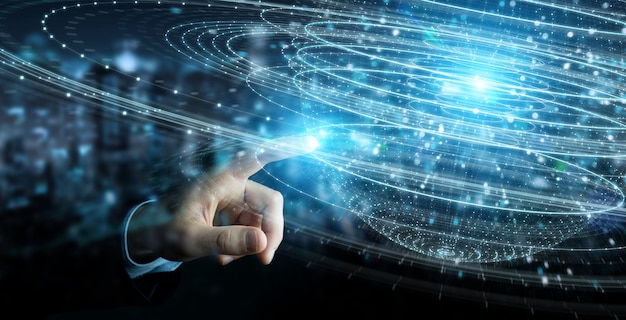 Homme d'affaires utilisant le rendu 3d hologramme de connexion de sphère numérique