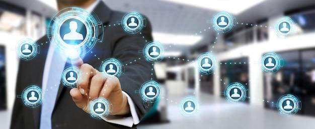Homme d'affaires utilisant le rendu 3d d'un réseau social bleu
