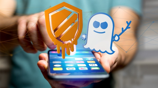 Homme d'affaires utilisant un smartphone avec une attaque de processeur meltdown and specter