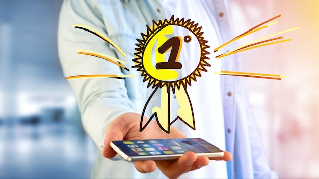 Homme d'affaires utilisant un smartphone avec une récompense dessinée à la main pour le numéro un