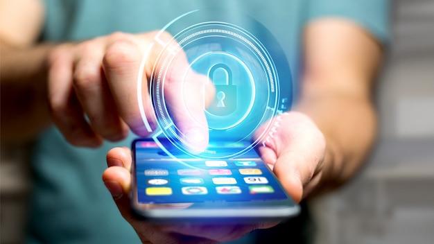 Homme affaires, utilisation, smartphone, shinny, casier technologique, sécurité, bouton, -, rendu 3d