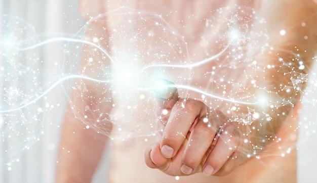 Homme affaires, utilisation, sphère connexion réseau numérique
