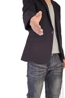 Homme d'affaires en vêtements décontractés, serrer la main et vous inviter.