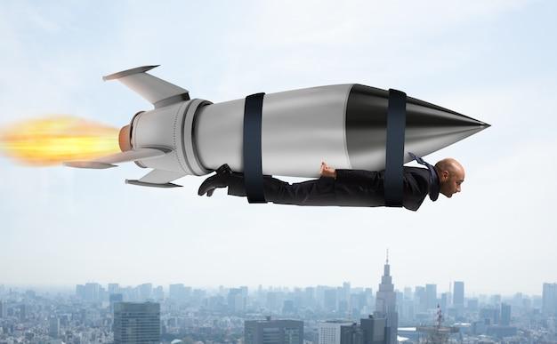 Homme d'affaires vole avec une fusée rapide. concept d'ambition et de détermination
