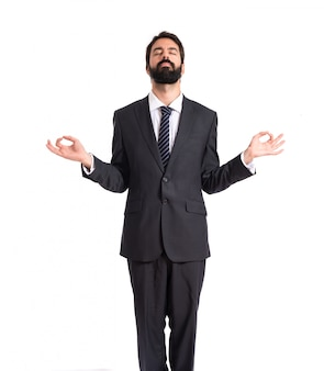 Homme d'affaires, zen, position, blanc, fond