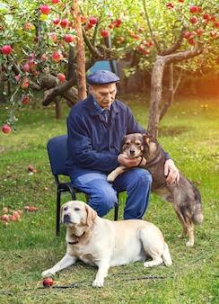 Un homme âgé avec deux chiens assis dans le jardin