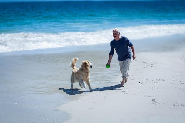 Homme d'âge mûr lancer une balle à son chien