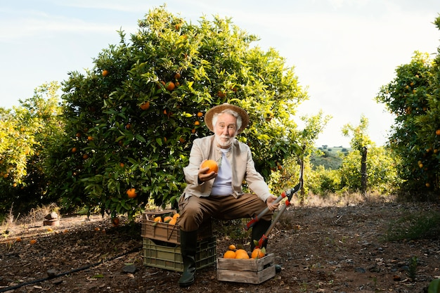 Homme âgé avec des oranges fraîches