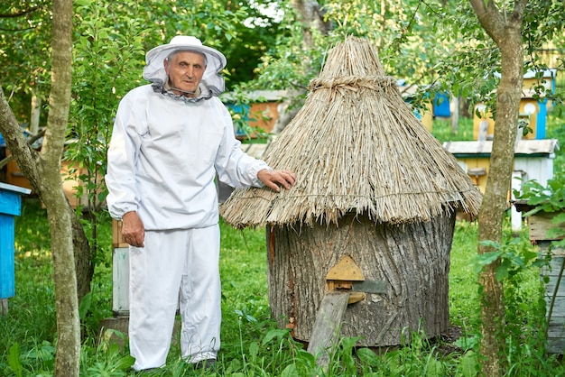 Un homme âgé portant des costumes d'apiculture la récolte de miel dans son rucher en plein air copyspace.