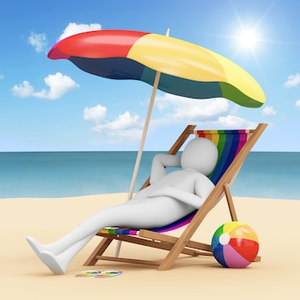 Homme allongé sur une chaise de plage avec parapluie et différents accessoires en rendu 3d