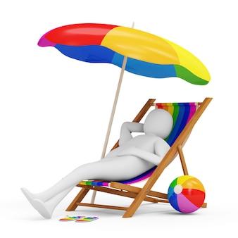 Homme allongé sur une chaise de plage avec parapluie