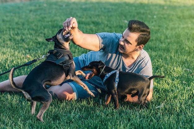 Homme allongé sur l'herbe jouant avec ses deux chiens dans le parc. jeune homme waring vêtements d'été jouant avec ses animaux de compagnie dans le parc.