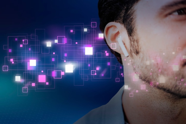 Homme américain écoutant de la musique sur des écouteurs sans fil remix numérique
