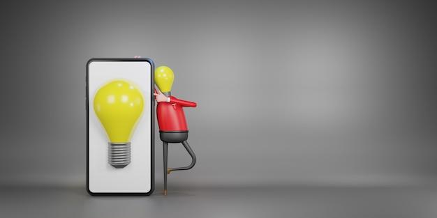 Homme d'ampoule. idée créative et concept d'innovation, illustration 3d