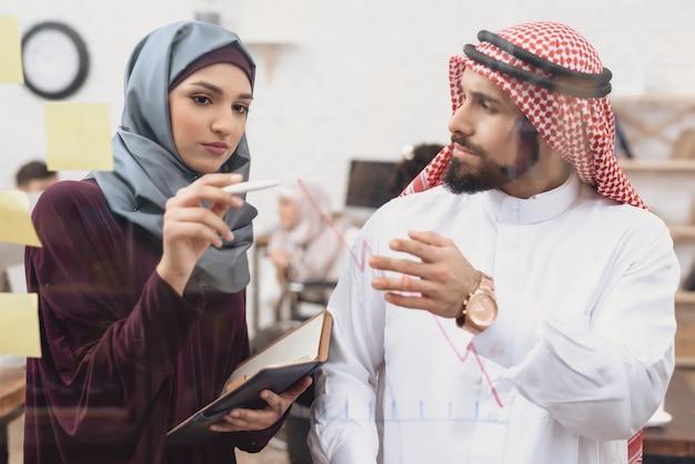 Homme arabe et femme d'affaires créent un diagramme.