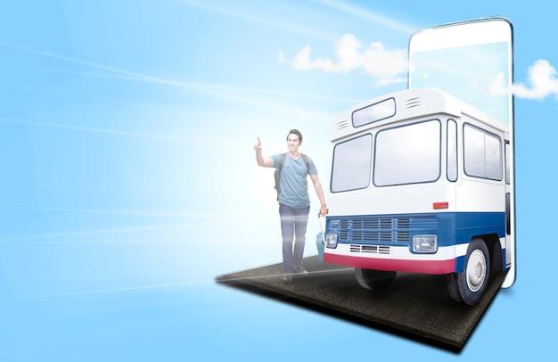 Homme asiatique avec valise et sac à dos debout et pointant vers la distance