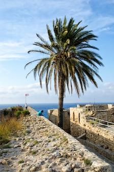 Homme assis sur les ruines d'un château à kyrenia
