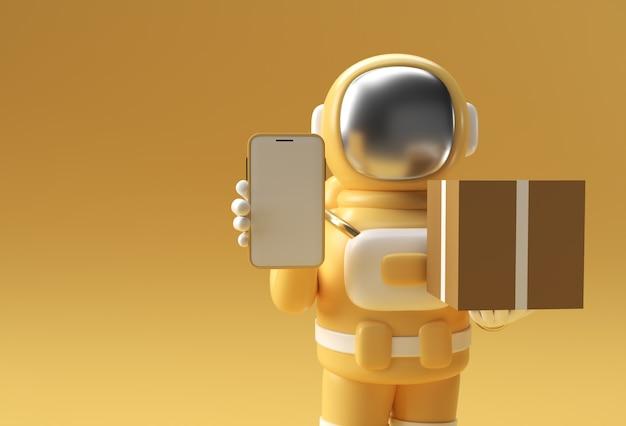 Homme astronaute de rendu 3d livrant un colis avec une maquette mobile vierge illustration 3d design.