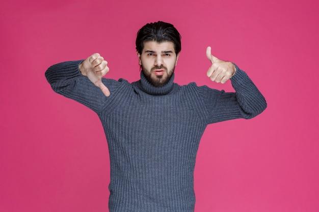 Homme aux cheveux longs et à la barbe faisant signe de la main de haut en bas du pouce.