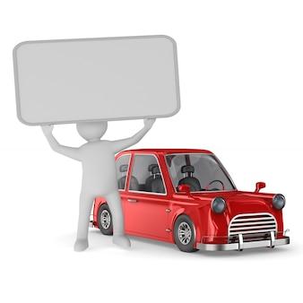 Homme avec bannière et voiture rouge sur espace blanc