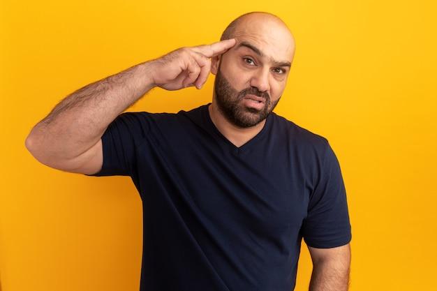 Homme barbu en t-shirt bleu marine avec une expression confiante sur le visage intelligent pointant avec l'index sur sa tempe debout sur un mur orange