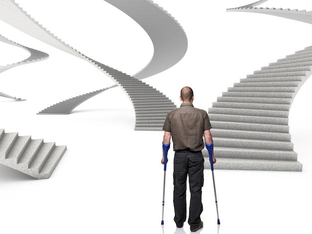 Homme avec des béquilles devant une série d'escaliers 3d