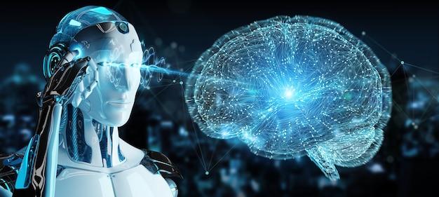 Homme blanc humanoïde créant une intelligence artificielle