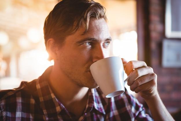Homme, boire, tasse, café