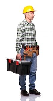 Homme avec une boîte à outils