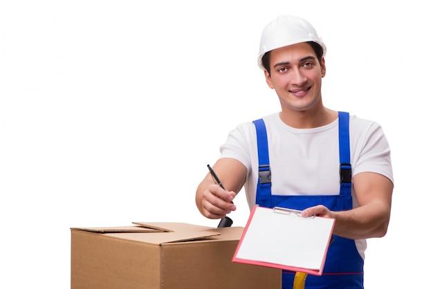 Homme avec des boîtes isolé sur blanc