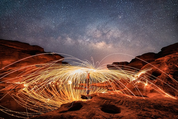 Homme brandissant un tourbillon de feu d'étincelle sur un canyon de roche et des trous avec une voie lactée dans le ciel nocturne à sam phan bok, ubon ratchathani