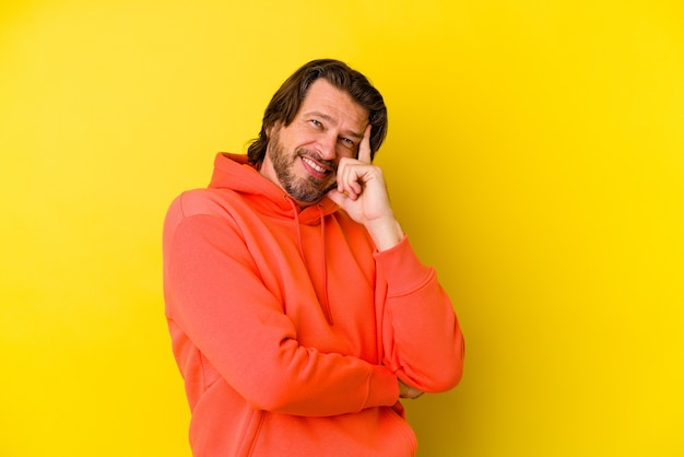 Homme caucasien d'âge moyen isolé sur mur jaune souriant heureux et confiant, toucher le menton avec la main