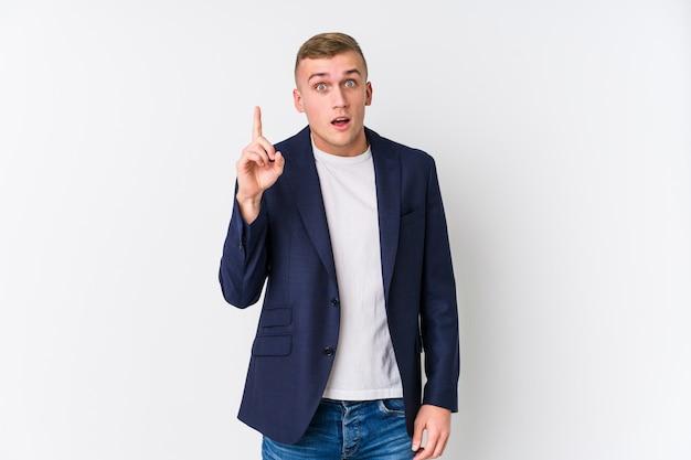 Homme caucasien jeune entreprise ayant une idée, concept d'inspiration.