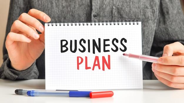 Un homme en chemise blanche tient un morceau de papier avec le texte: plan d'affaires