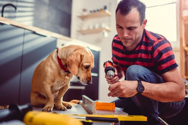 Homme avec chien construisant des armoires de cuisine et à l'aide d'une perceuse sans fil