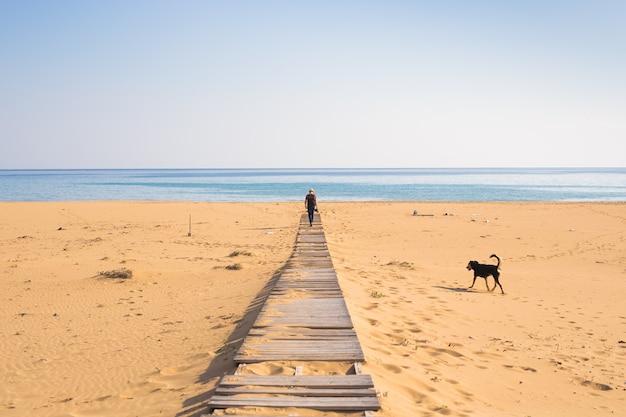 Homme avec chien marchant sur la plage tropicale.