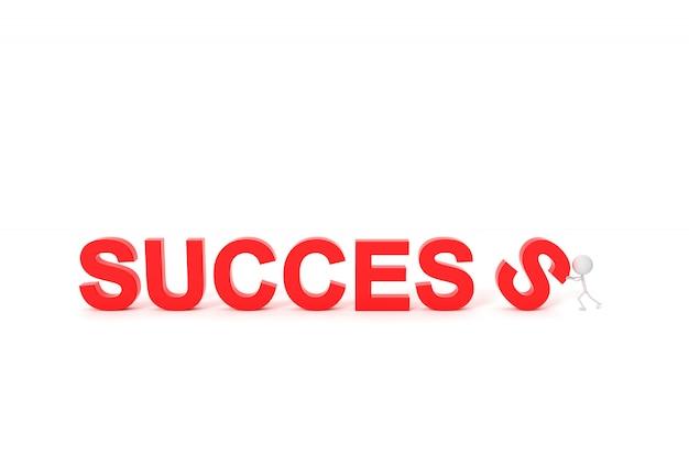 L'homme avec le concept de réussite. rendu 3d.