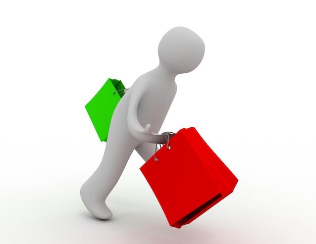 Homme avec le concept de sac à provisions