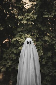 Homme en costume de fantôme debout près de la brousse