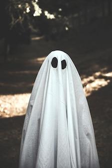 Homme en costume fantôme debout sur un sentier de randonnée dans le parc