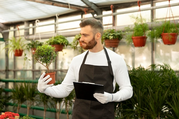 Homme de coup moyen regardant la plante