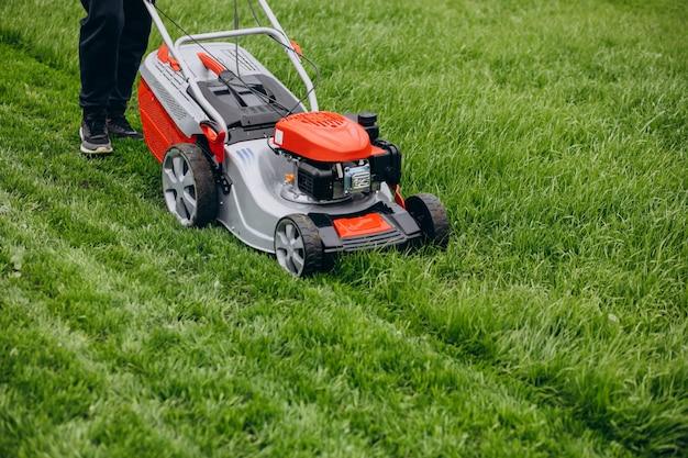 Homme, couper herbe, à, tondeuse gazon, dans, les, arrière-cour
