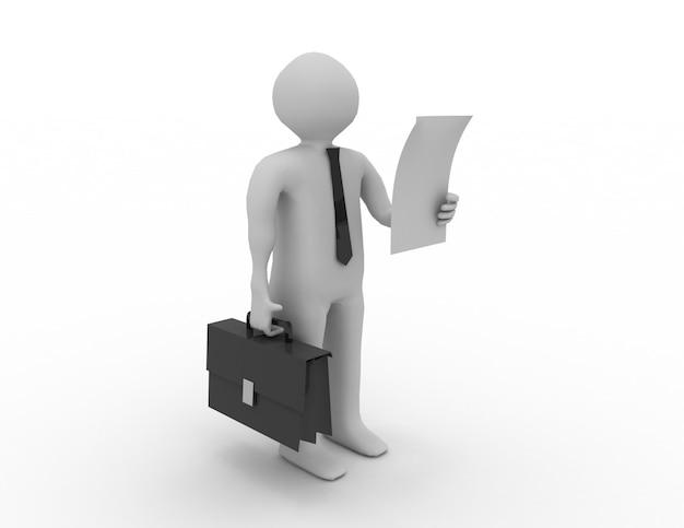 Homme en cravate noire avec une mallette et une feuille de papier dans les mains.