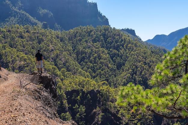 Homme dans le parc national de la cumbrecita dans l'île de la palma, canary islands, spain
