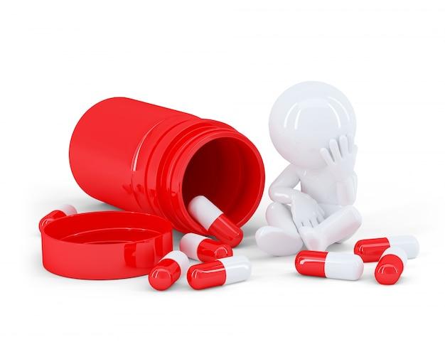 Homme déprimé prenant des pilules