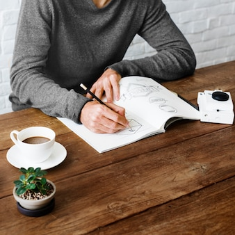 Homme dessin croquis design label artwork concept
