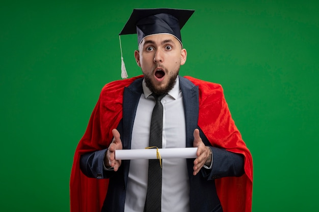 Homme diplômé en cape rouge tenant un diplôme étonné et surpris debout sur un mur vert