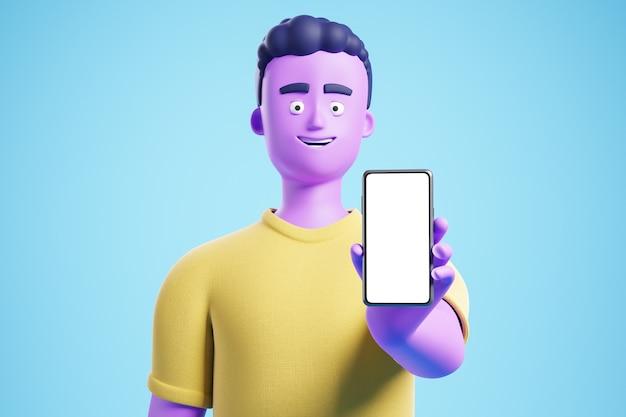 Homme drôle de personnage de dessin animé à la mode show smartphone avec écran blanc blanc sur fond bleu